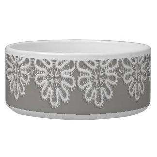 White Lace Pet Bowl