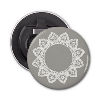 White Lace Round Bottle Opener