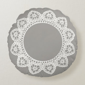 White Lace Round Throw Pillow