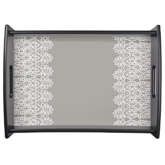 White Lace Serving Tray