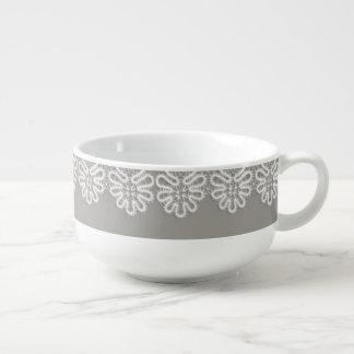 White Lace Soup Cup Soup Mug