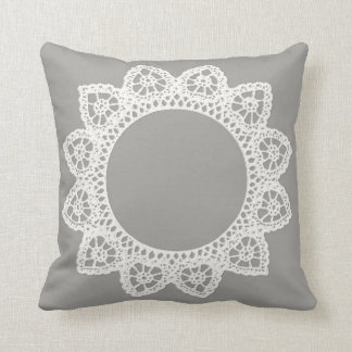White Lace Throw Pillow