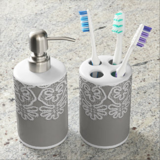 White Lace Toothbrush Holder & Soap Dispenser