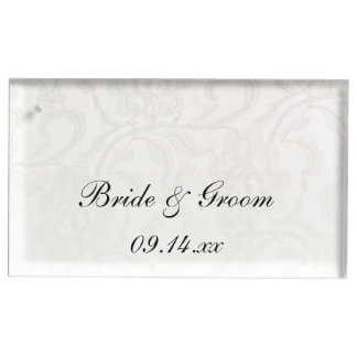 White Lace Wedding Place Card Holder