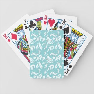 White leaves in mint blue bicycle playing cards