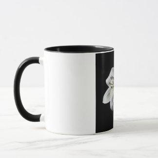 White Lilly on Black 11 oz Ringer Mug