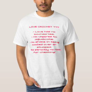 WHITE 'LOVE AND CRICKET' T-SHIRT