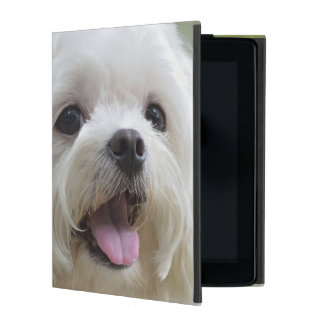 White maltese dog sticking out tongue iPad cover