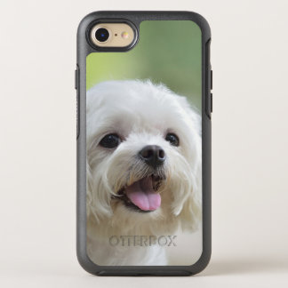 White maltese dog sticking out tongue OtterBox symmetry iPhone 8/7 case