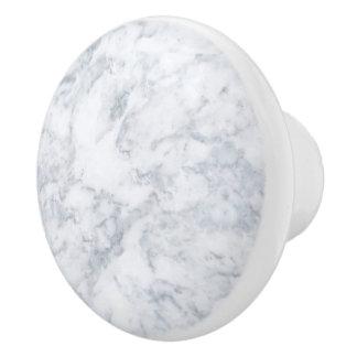 White Marble Look Ceramic Knob