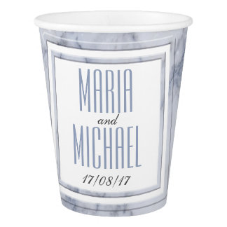 White Marble Wedding Stationery Paper Cup