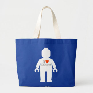 """White Minifig with """"I Love Minifigs"""" Slogan Large Tote Bag"""