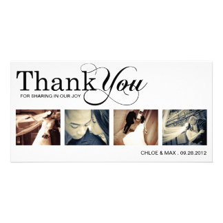 WHITE MODERN THANKS | WEDDING THANK YOU CARD PERSONALIZED PHOTO CARD