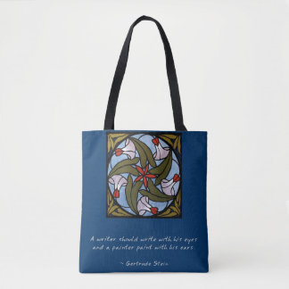 White Morning Glories Gertrude Stein Quote Tote Bag