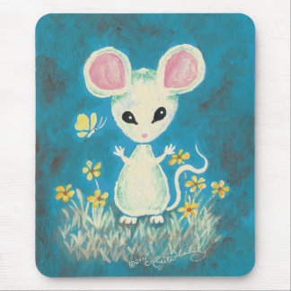 White Mouse with Yellow Flowers & Butterfly. Mouse Pad