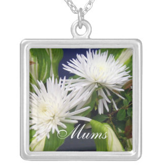 White Mums Green Personalized Necklace