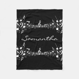White Musical Notes Doubled Design Fleece Blanket