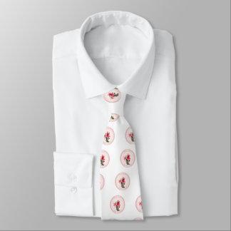 White necktie with flowers of the azalea