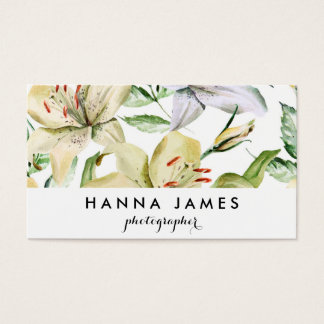 White Neutral Lily Floral Pattern Personalised Business Card