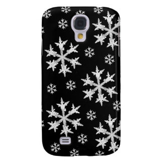 White on Black Snowflake Design Galaxy S4 Case