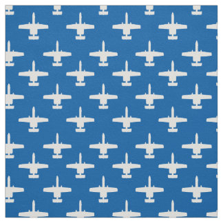 White on Blue A-10 Warthog Attack Jet Pattern Fabric