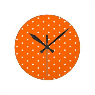 White on Orange Polka Dots Round Clock