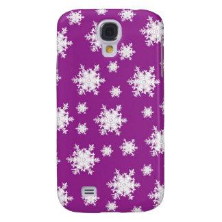 White on Purple Snowflake Design Galaxy S4 Case