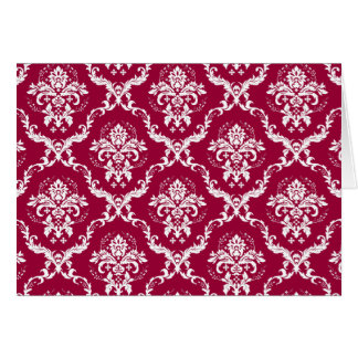 White on Red Damask Pattern Card