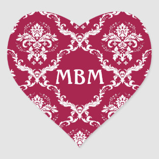 White on Red Damask Pattern Heart Sticker