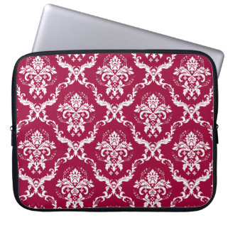 White on Red Damask Pattern Laptop Sleeve