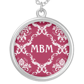 White on Red Damask Pattern Custom Jewelry