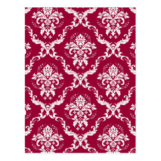 White on Red Damask Pattern Post Card