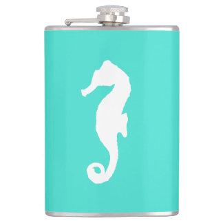 White On Turquoise Coastal Decor Seahorse Hip Flask