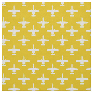 White on Yellow A-10 Warthog Attack Jet Pattern Fabric