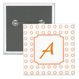 White & Orange Apple Blossoms 15 Cm Square Badge