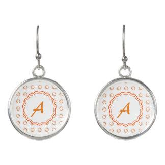 White & Orange Apple Blossoms Earrings
