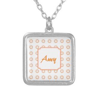 White & Orange Apple Blossoms Square Pendant Necklace