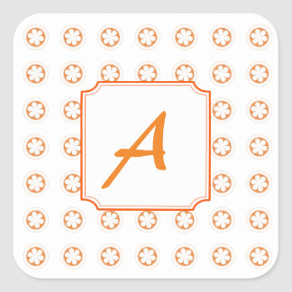 White & Orange Apple Blossoms Square Sticker