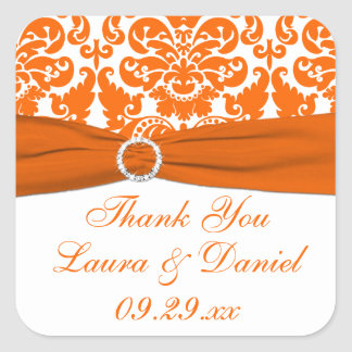 White, Orange Damask Wedding Favor Sticker