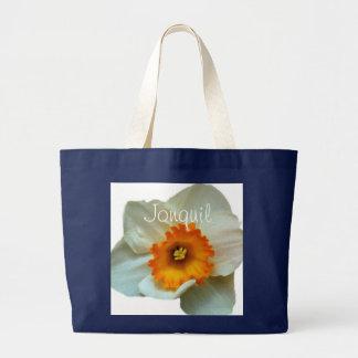 White Orange Jonquil Jumbo Tote Bag