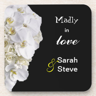 White Orchid Wedding Coasters for Newly Wed Couple
