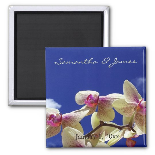White Orchids and Blue Sky Personal Wedding Magnet