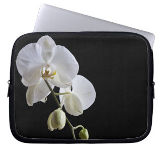 White Orchids on Black Laptop Sleeve