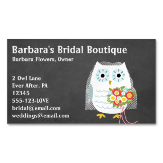 White Owl Bride with Flower Bouquet Magnetic Business Card