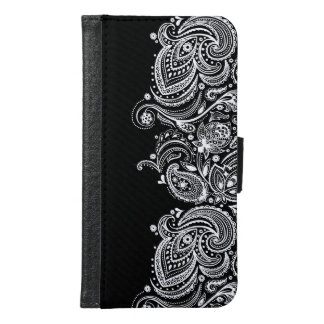 White Paisley Lace With Black Background Samsung Galaxy S6 Wallet Case