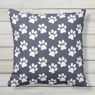 White Paw Prints Design Outdoor Pillow