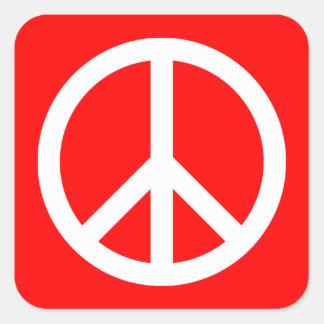 White Peace Sign Square Sticker