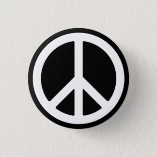 White Peace Symbol Button