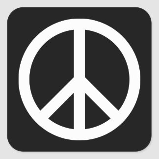 White Peace Symbol Square Sticker