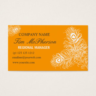 White Peacock Feather Networking Event Planner Business Card